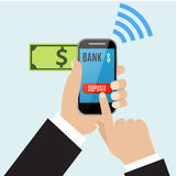 Hand of business man touching deposit button of mobile Stock Photo