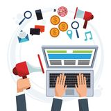 Hand business man working computer digital marketing. Vector illustration eps 10 Stock Photography