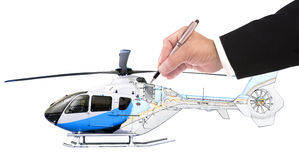 Hand of business man writing on helicopter Royalty Free Stock Images