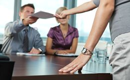 Hand on business meeting Stock Photography