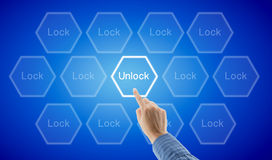 Hand of a business person is unlocking Royalty Free Stock Photos