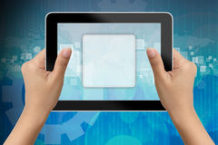 Hand of business woman holding digital tablet Stock Images