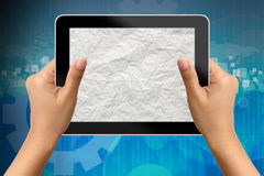 Hand of business woman holding digital tablet Stock Photo