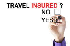 Hand of businessman approving travel insurer stock photo