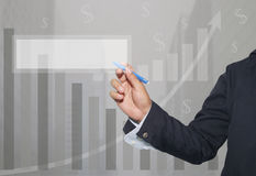 Hand of businessman is drawing bar graph and blank of rectangula Stock Photography