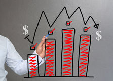 Hand of businessman drawing graphics a top point growing graph t Royalty Free Stock Image