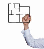 Hand businessman drawing plan apartment Royalty Free Stock Images