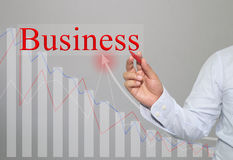 Hand of businessman is drawing text of Business and bar graph ba Royalty Free Stock Photography