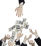Hand of businessman and  falling money Royalty Free Stock Photos
