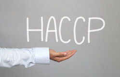 Hand of businessman and hand drawn text HACCP system. Hand of businessman and hand drawn text HACCP system for idea presentation in your organization and work Royalty Free Stock Images