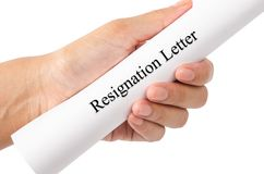 Hand of a businessman hand over a resignation letter. Hand of a businessman hand over a resignation letter isolated on white background, save clipping path stock image