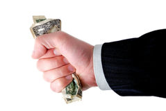 Hand of a businessman holding cash Stock Image
