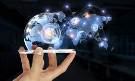 Technologies for global communication. Hand of businessman holdingn mobile phone and global connection concept. 3d rendering Stock Image