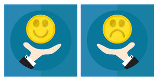 Hand of businessman, man throws coin. The situation is choice. Decision-making. Smiling smiley, sad smile. Icon. Vector Royalty Free Stock Image