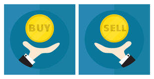 Hand of businessman, man throws coin. The situation is choice. The decision to buy or sell. Icon. Vector Stock Photos