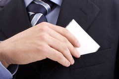 Hand of businessman offering businesscard Royalty Free Stock Images