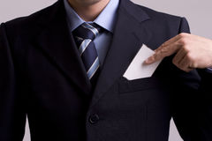 Hand of businessman offering businesscard Stock Image