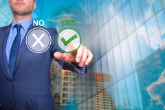 Hand of businessman press Yes button. Concept of decision making Royalty Free Stock Photos