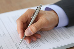 Hand of businessman in suit Royalty Free Stock Photos