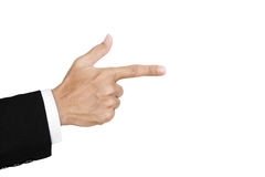 Hand of businessman in suit showing gun sign, isolated on white background Stock Photography