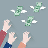 Hand businessman trying to grab Money Flying Away. Vector Stock Photo