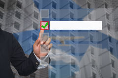 Hand of businessman use finger touch to button to select in Text Royalty Free Stock Photos
