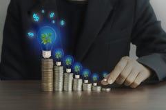 Hand of businesswomen  put money Stock Photography
