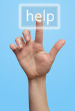 Hand and button Help Stock Images