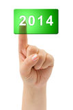 Hand and button 2014 Stock Photo