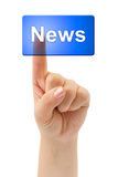 Hand and button News Royalty Free Stock Photo