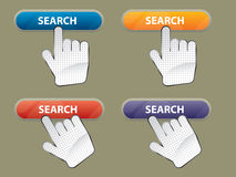 Hand and button search Stock Photos