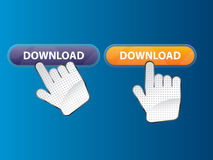 Hand and button search Royalty Free Stock Image