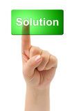 Hand and button Solution Royalty Free Stock Image