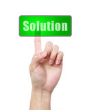 Hand and button Solution Stock Photo