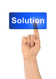 Hand and button Solution Royalty Free Stock Photo