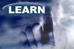 Hand and button with word of LEARN. The hand and button with word of LEARN Royalty Free Stock Images