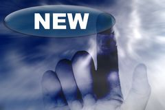 Hand and button with word of NEW Stock Photography