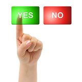 Hand and buttons Yes/No royalty free stock photo