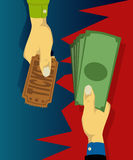 Hand buy tickets with cash Stock Image