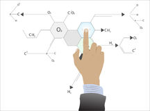 Hand calculation molecule Royalty Free Stock Photos