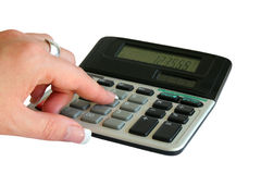 Hand and calculator Royalty Free Stock Photography