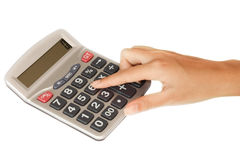 Hand with a Calculator Royalty Free Stock Photos