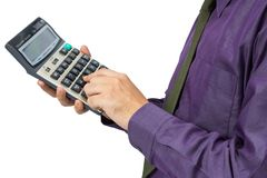 Hand on calculator Royalty Free Stock Photography