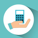Hand calculator finance icon. Vector illustration eps 10 Royalty Free Stock Photo