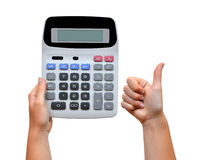 Hand with calculator Stock Images