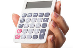Hand with calculator Royalty Free Stock Photos