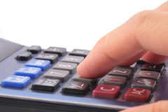 Hand with calculators Royalty Free Stock Photos