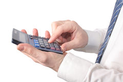 Hand with calculators Royalty Free Stock Photo