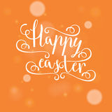 Hand calligraphic font with happy Easter text Royalty Free Stock Image