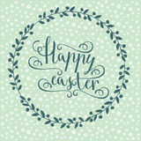 Hand calligraphic font with happy Easter text Stock Photos